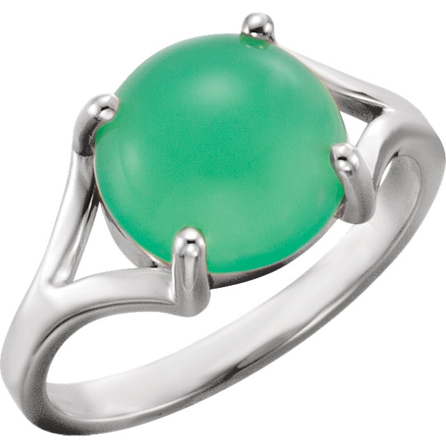Buy Real 14 KT White Gold 10mm Round Chrysoprase Cabochon Ring