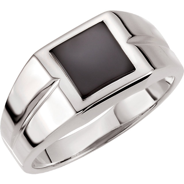 Remarkable 14 Karat White Gold 10mm Square Genuine Onyx Ring