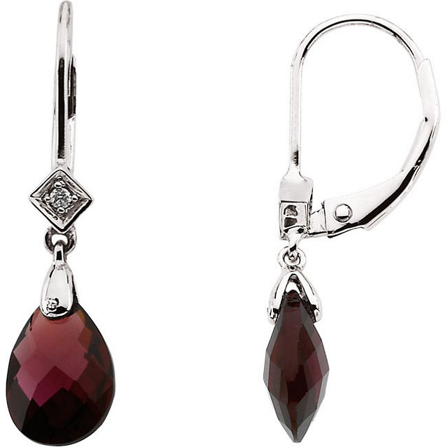 Surprise Her with  14 Karat White Gold 10x7mm Briolette Brazilian Garnet & .025 Carat Total Weight Diamond Earrings