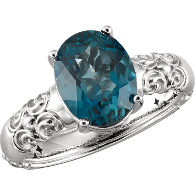 Beautiful 14 Karat White Gold 10x8mm Oval Genuine London Blue Topaz Ring