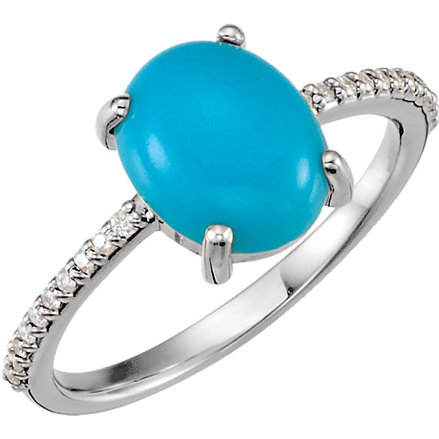 Eye Catchy 14 Karat White Gold 10x8mm Oval Cabochon Turquoise & 0.10 Carat Total Weight Diamond Ring