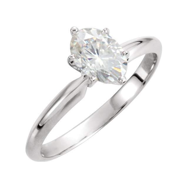 14KT White Gold 10x8mm Oval Forever Classic Moissanite Solitaire Engagement Ring