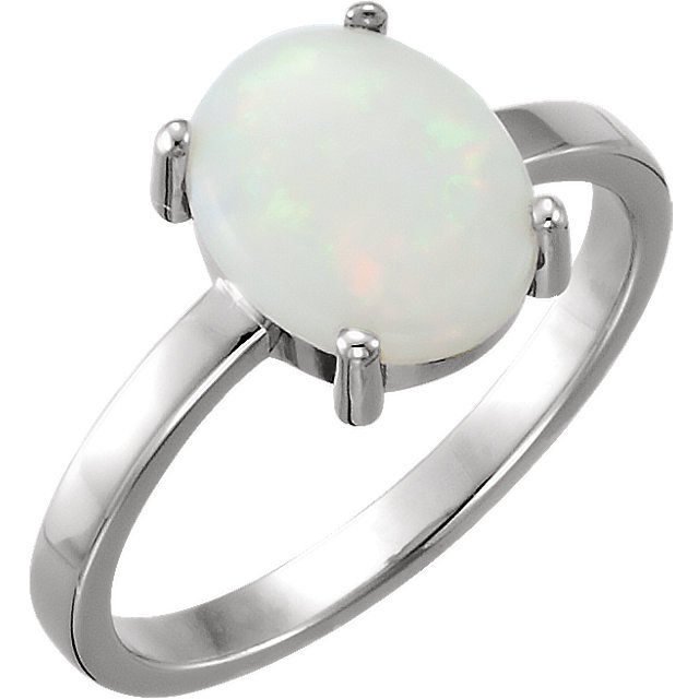 14 Karat White Gold 10x8mm Oval Opal Cabochon Ring