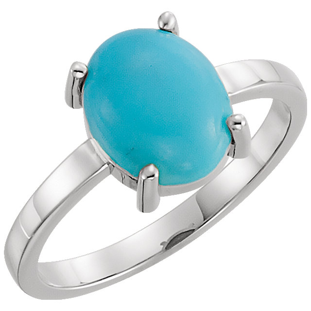 Great Gift in 14 Karat White Gold 10x8mm Oval Turquoise Cabochon Ring