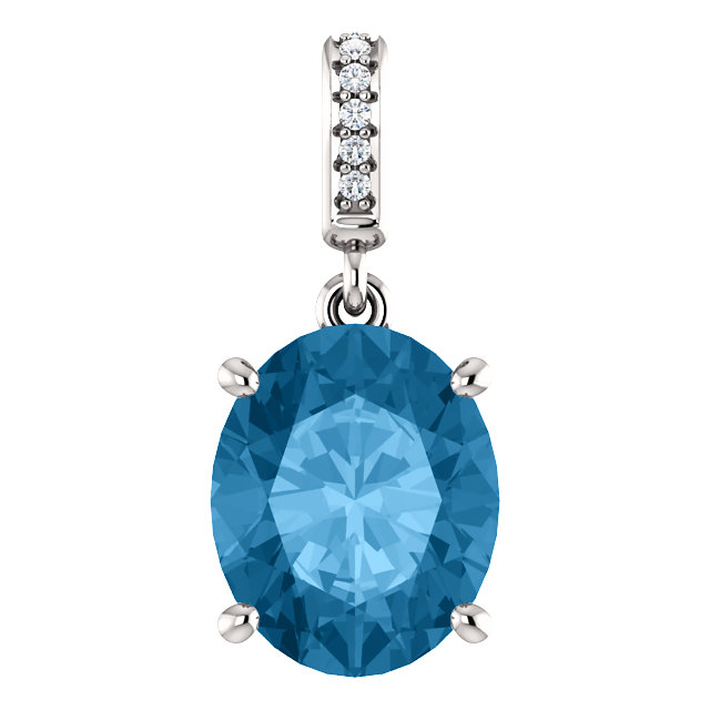 Must See 14 KT White Gold 11x9mm Swiss Blue Topaz & Diamond Necklace