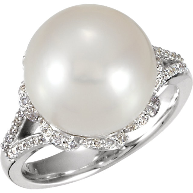 14KT White Gold 12mm South Sea Cultured Pearl & 1/3 Carat Total Weight Diamond Ring