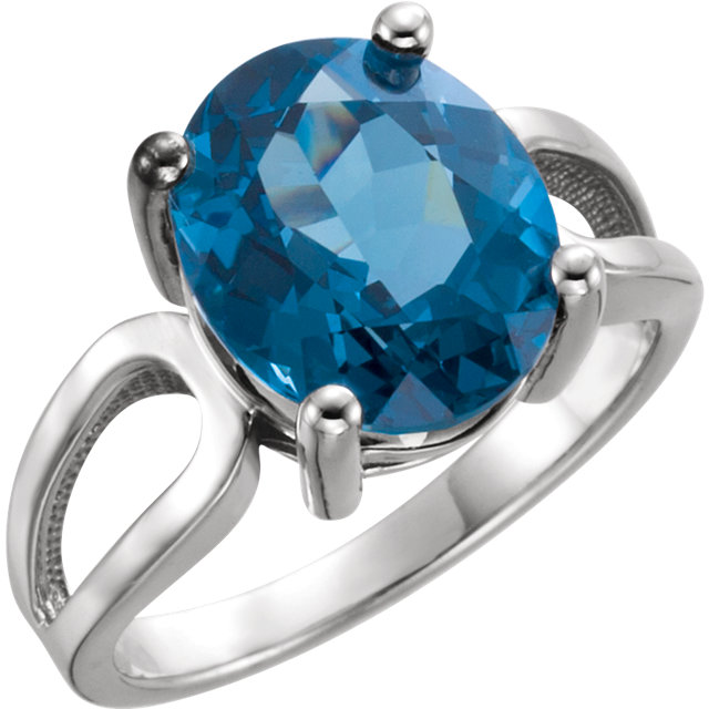 Perfect Gift Idea in 14 Karat White Gold 12x10mm Oval London Blue Topaz Ring