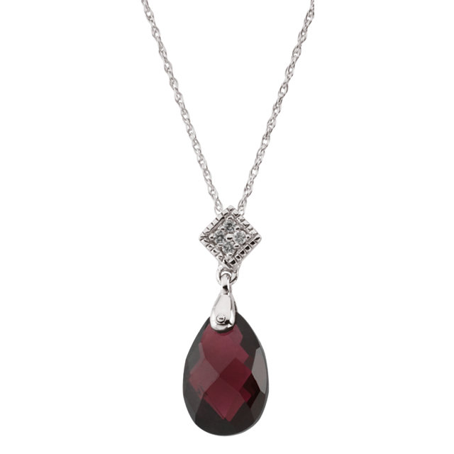 Great Deal in 14 Karat White Gold 12x8 Briolette Brazilian Garnet & .04 Carat Total Weight Diamond 18