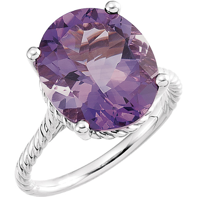 Great Gift in 14 Karat White Gold 14x12mm Amethyst Rope Ring