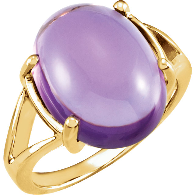 14 KT White Gold 16x12mm Cabochon Amethyst Ring