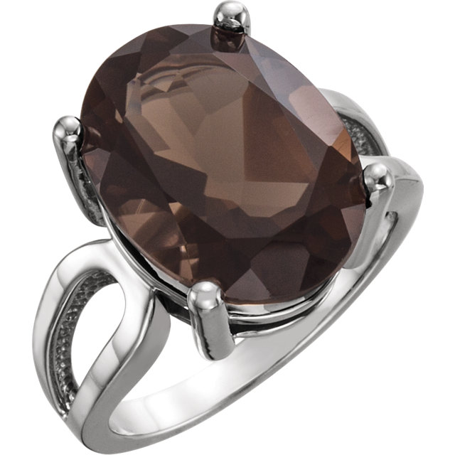 Must See 14 Karat White Gold 16x12mm Oval Smoky Quartz Ring