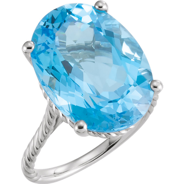 Alluring 14 Karat White Gold 18x13mm Oval Genuine Swiss Blue Topaz Rope Ring