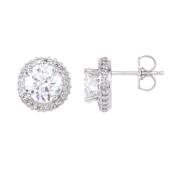 Gorgeous 14 Karat White Gold 2 0.40 Carat Total Weight Round Genuine Diamond Earrings