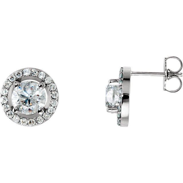 Contemporary 14 Karat White Gold 2 0.50 Carat Total Weight Diamond Halo-Style Earrings