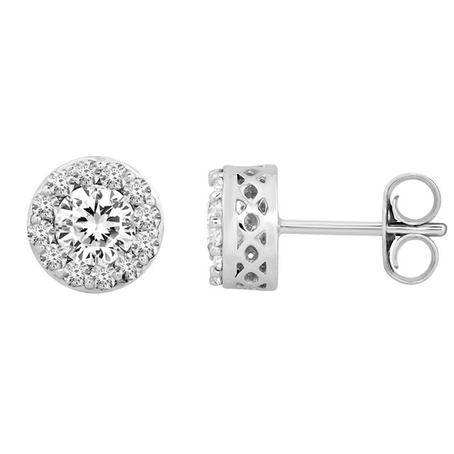 Perfect Gift Idea in 14 Karat White Gold 2 0.40 Carat Total Weight Diamond Fantasy™ Cluster Earrings