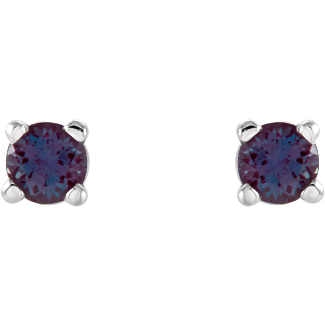 Must See 14 Karat White Gold 2.5mm Round Genuine Chatham Created Created Alexandrite Earrings