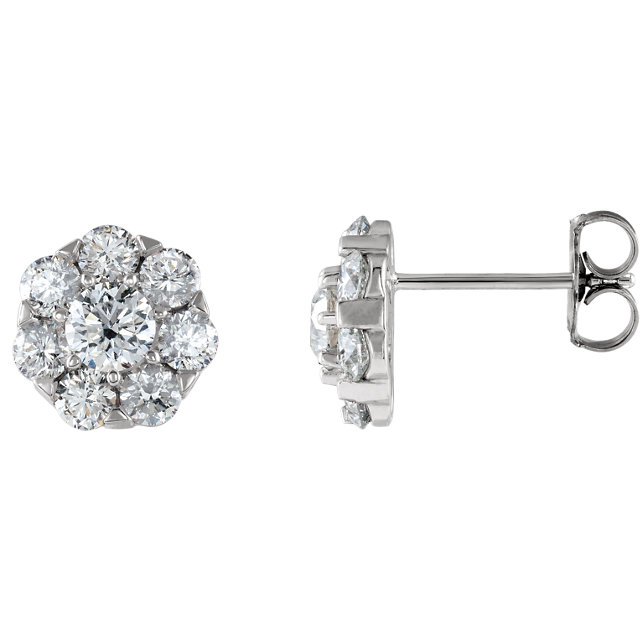 Great Buy in 14 Karat White Gold 2 Carat Total Weight Diamond Cluster Earrings