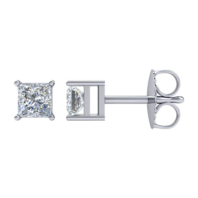 Gorgeous 14 Karat White Gold 2 Carat Total Weight Diamond Earrings