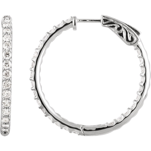 Stunning 14 Karat White Gold 2 Carat Total Weight Diamond Inside/Outside Hoop Earrings