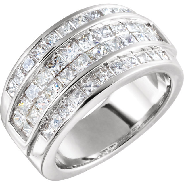 White Diamond Ring in 14 Karat White Gold 2 Carat Diamond Invisible Set Ring Size 5