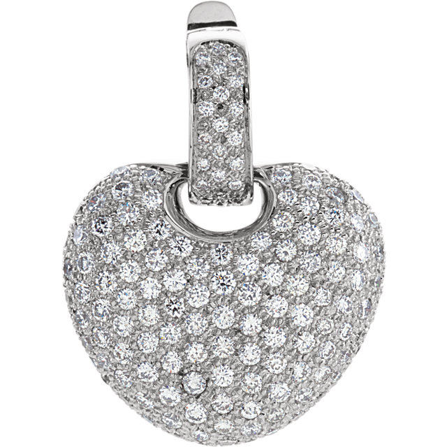 14 KT White Gold 2 CTW Diamond Pave Heart Pendant