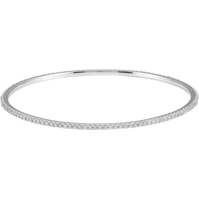 Fabulous 14 Karat White Gold 2 Carat Total Weight Round Genuine Diamond Stackable Bangle Bracelet