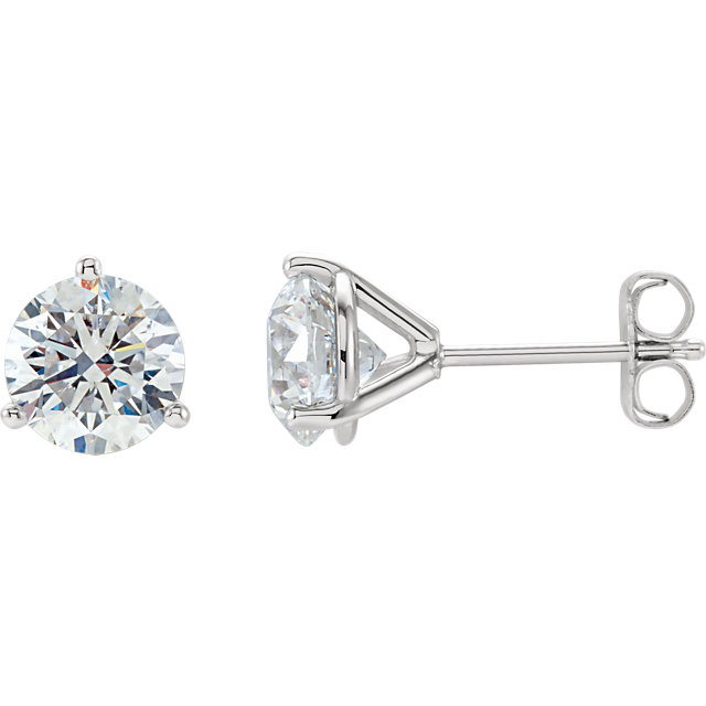 Easy Gift in 14 Karat White Gold 2 Carat Total Weight Diamond Stud Earrings