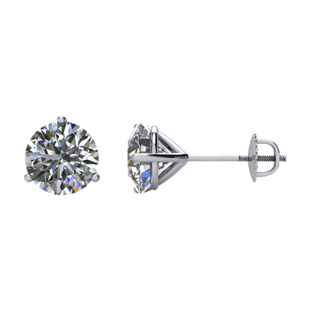Wonderful 14 Karat White Gold 2 Carat Total Weight Diamond Stud Earrings
