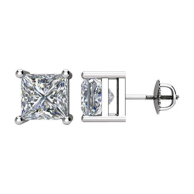 Appealing Jewelry in 14 Karat White Gold 2 Carat Total Weight Diamond Threaded Post Stud Earrings