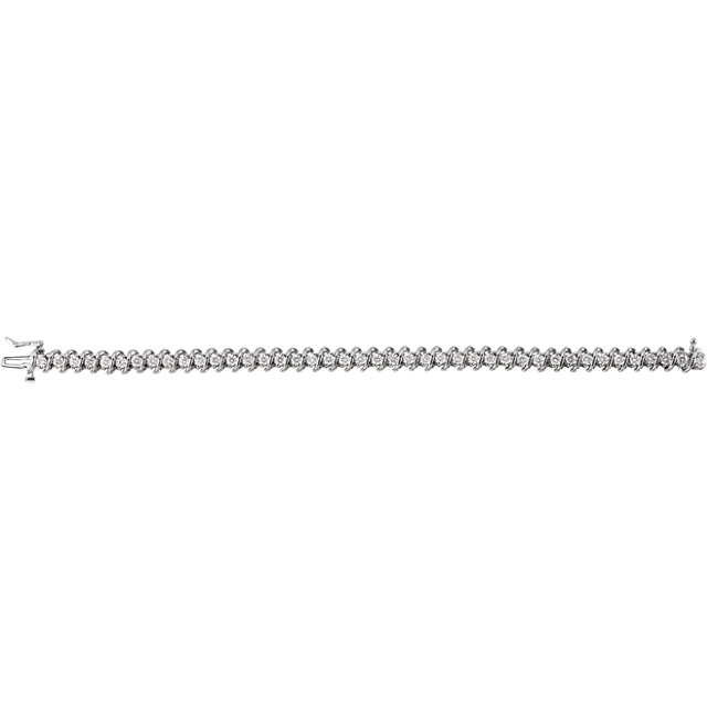 Pleasing 14 Karat White Gold 3 1/3 Carat Total Weight Round Genuine Diamond Line Bracelet