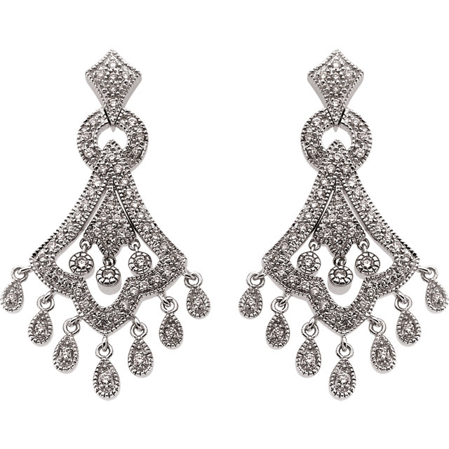 14KT White Gold 3/4 CTW Diamond Earrings