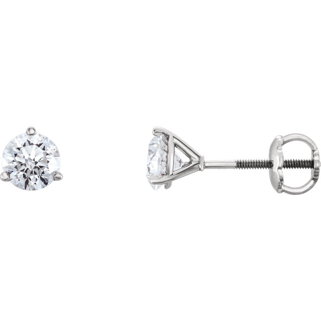 Easy Gift in 14 Karat White Gold 0.75 Carat Total Weight Diamond Earrings