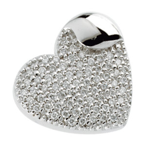 14KT White Gold 3/4 CTW Diamond Humble Heart Pendant