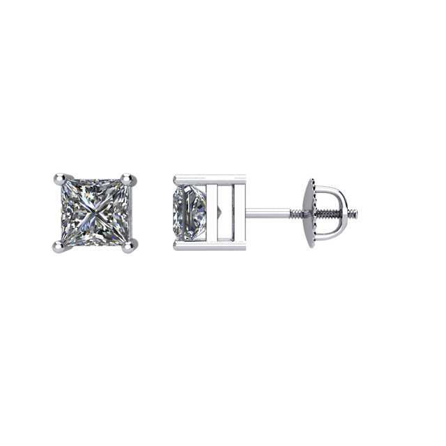 Appealing Jewelry in 14 Karat White Gold 0.75 Carat Total Weight Diamond Threaded Post Stud Earrings