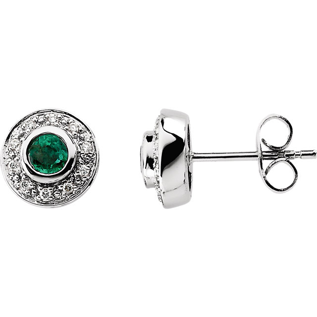 Wonderful 14 Karat White Gold 3.5mm Round Emerald & 0.10 Carat Total Weight Diamond Earrings