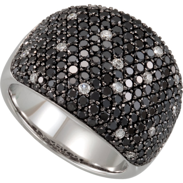 Magnificent 14 KT White Gold 3 Carat TW Black & White Round Genuine Diamond Pave Ring