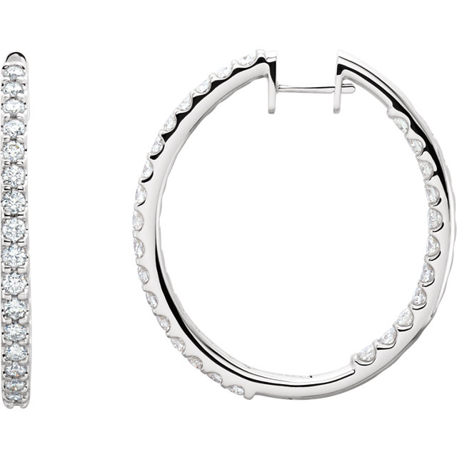 Contemporary 14 Karat White Gold 3 Carat Total Weight Diamond Hinged Inside-Outside Hoop Earrings