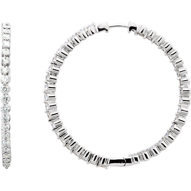 Easy Gift in 14 Karat White Gold 3 Carat Total Weight Diamond Inside/Outside Hoop Earrings