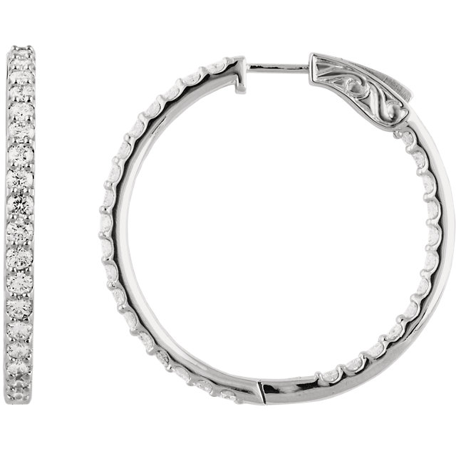 Great Buy in 14 Karat White Gold 3 Carat Total Weight Diamond Inside/Outside Hoop Earrings