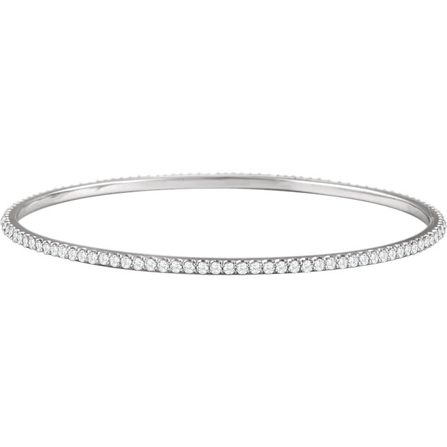 Alluring 14 Karat White Gold 3 Carat Total Weight Round Genuine Diamond Stackable Bangle Bracelet