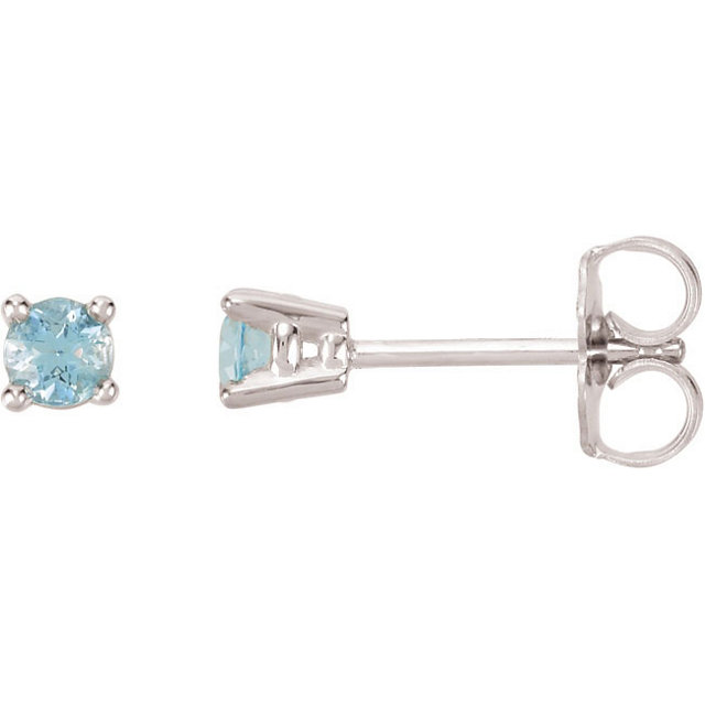 Great Gift in 14 Karat White Gold 3mm Round Aquamarine FriCaration Post Stud Earrings