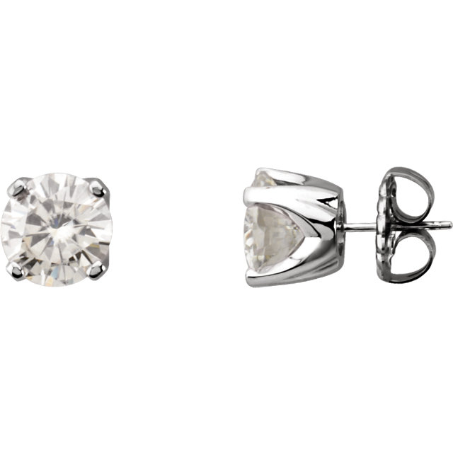14KT White Gold 3mm Round Forever Classic Moissanite 4-Prong Stud Earrings