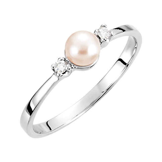 Wonderful 14 Karat White Gold 4.5mm Genuine Akoya Cultured Pearl & Diamond Ring
