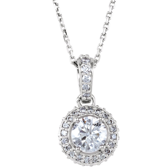 14KT White Gold 4.5mm Round Forever Brilliant Moissanite & 1/4 Carat Total Weight Diamond 18