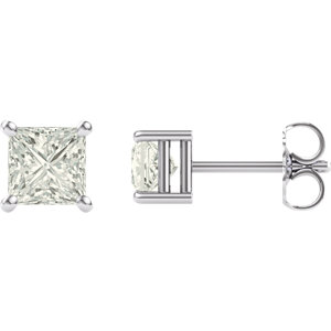 14KT White Gold 4.5mm Square Forever Brilliant Moissanite Earrings