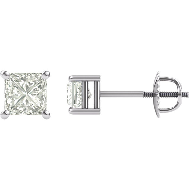 14KT White Gold 4.5mm Square Forever Classic Moissanite 4-Prong Stud Earrings