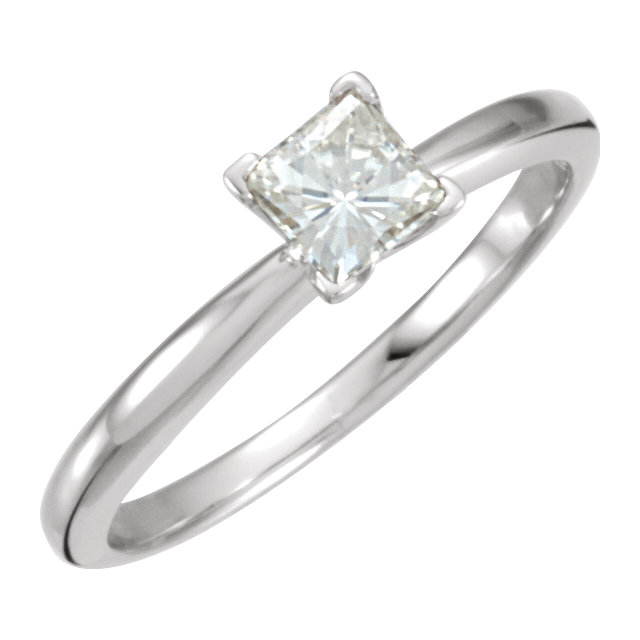14KT White Gold 4.5mm Square Forever Classic Moissanite Solitaire Engagement Ring