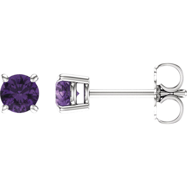 Must See 14 KT White Gold 4mm Round Amethyst Earrings