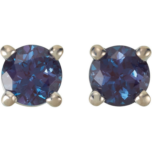 Genuine Chatham Created Alexandrite Earrings in 14 Karat White Gold 4mm Round Chatham Created Created Alexandrite FriCaration Post Stud Earrings