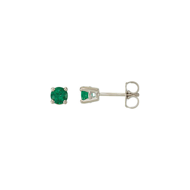 Genuine 14 KT White Gold 4mm Round Genuine Chatham Created Created Emerald FriCaration Post Stud Earrings